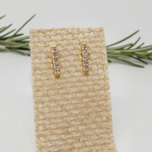 14K Gold Plated Mini CZ Bar Earrings | 925 Silver